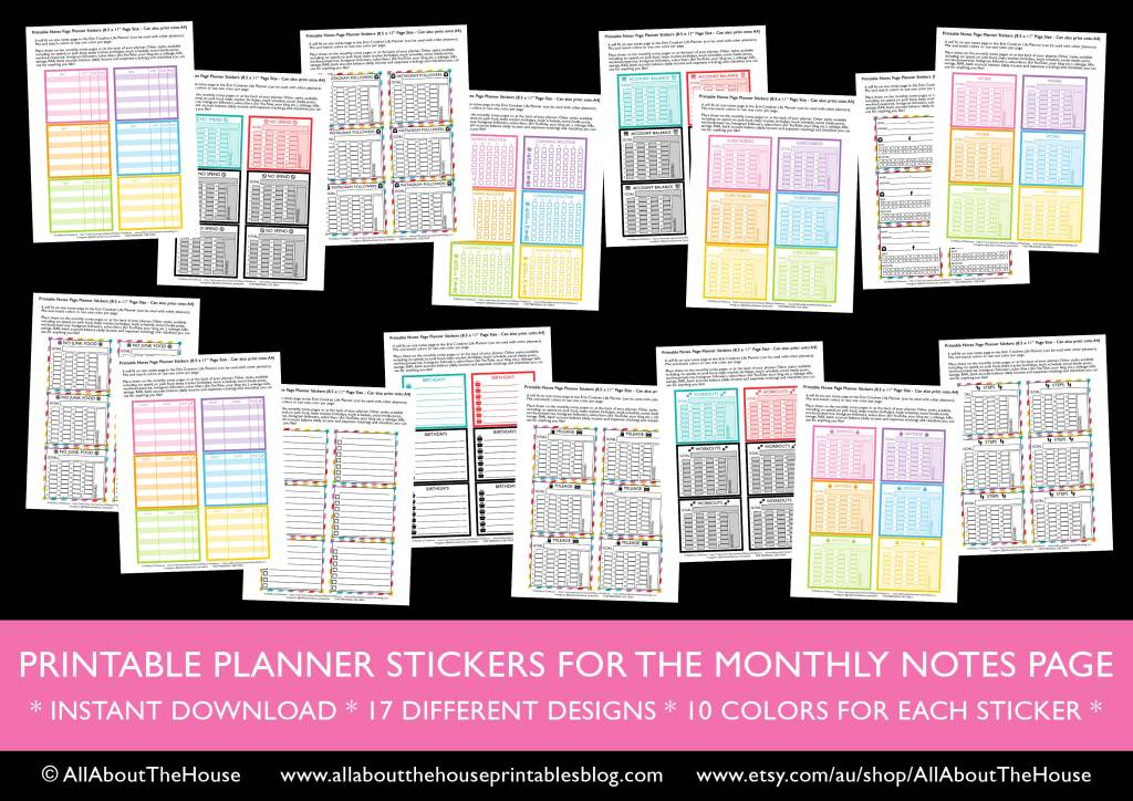printable notes page planner stickers kit bundle haul social media checklist mail no spend savings cleaning routine