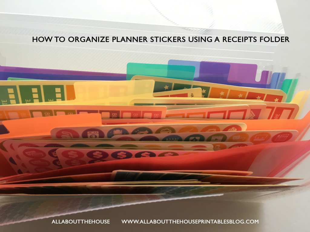 how to organize planner stickers using a receipts folder printable planner stickers samplers accessories color coded organization planner supplies-min