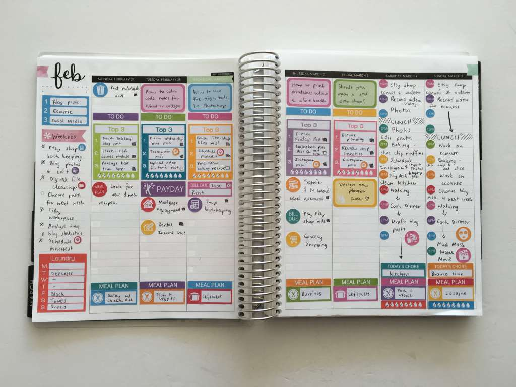 erin condren hourly planning converting spread to task based planning color coding task review rainbow weekly spread plan with me