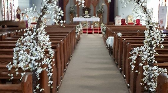 Ceremony decor at Ballycullane Church, New Ross, Co. Wexford