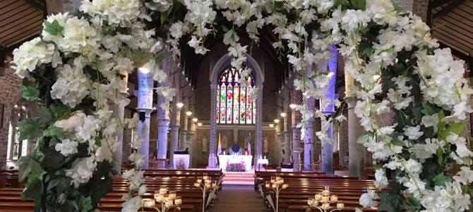 Ceremony Decor at St Johns Church Tralee & Venue Styling at Earl of Desmond Hotel