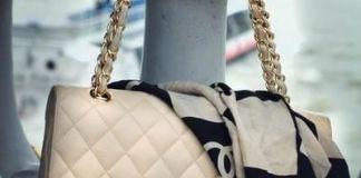 Handbag with a scarf