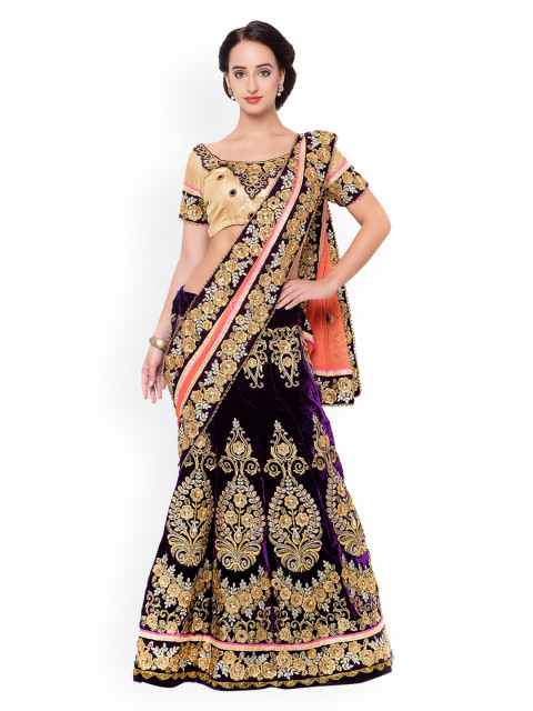 A beautiful purple and peach lengha