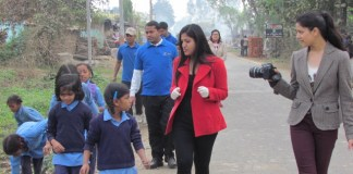 Ayu Tripathi in her cleanliness drive