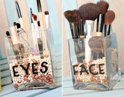 Makeup DIY with decorative rocks