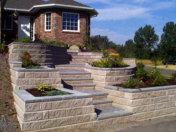 Retaining Walls Build Front Yard Landscapes on Terraced Front Yard Ideas id=75762