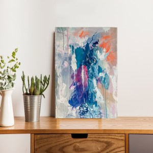 grey,blue and orange small abstract painting on wall