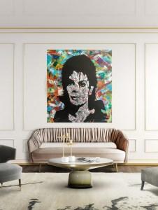 large michael jackson metal wall art portrait on colourful canvas
