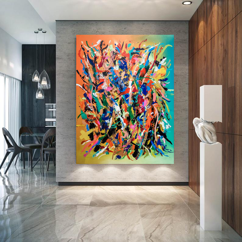 large multicoloured abstract canvas painting hanging in modern luxury hallway