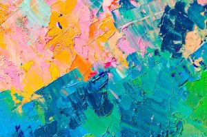 orange,blue and green abstract paint