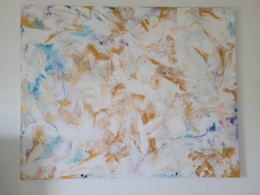 large white painting with gold and blue painted pieces