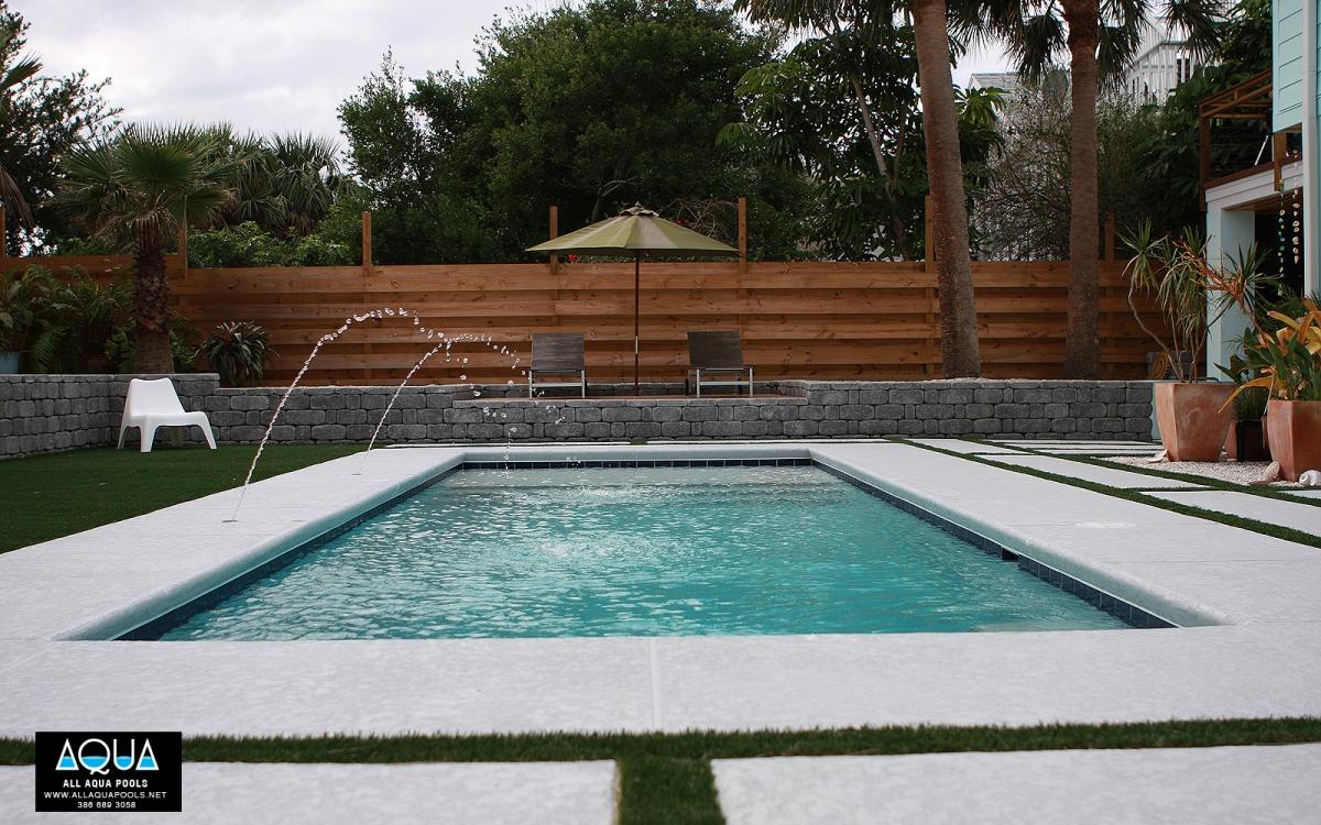 Modern Pool with Deck Jets - All Aqua Pools on Modern Backyard Ideas With Pool id=91606