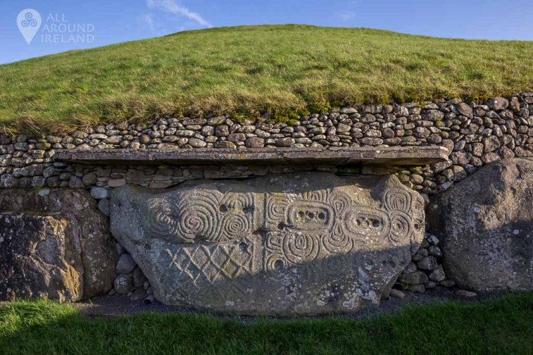 Carved kerbstone at the back of Newgrange