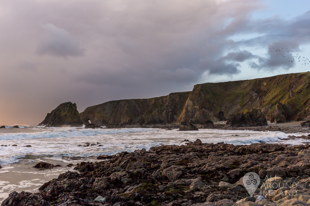 Storm clouds over Kilfarrasy Beach on the Copper Coast