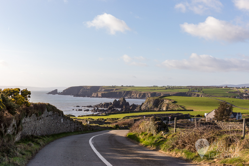 Spectacular views of the Copper Coast from the road