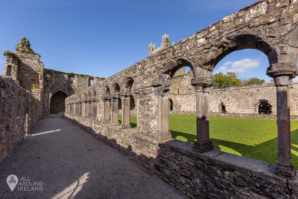 Looking along the cloister arcade at Jerpoint Abbey in Kilkenny, Ireland.