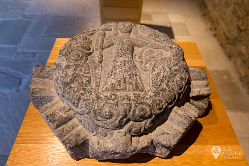Stone artefact on display at Jerpoint Abbey in Kilkenny, Ireland.