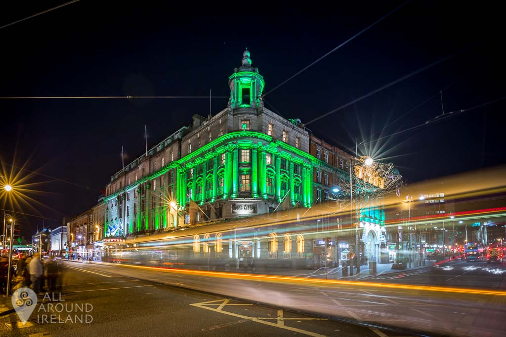 Wynn's Hotel in Dublin lit up in green for St Patrick's Day, 2017