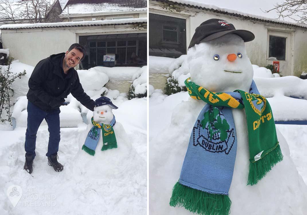 José's first attempt at building a snowman!