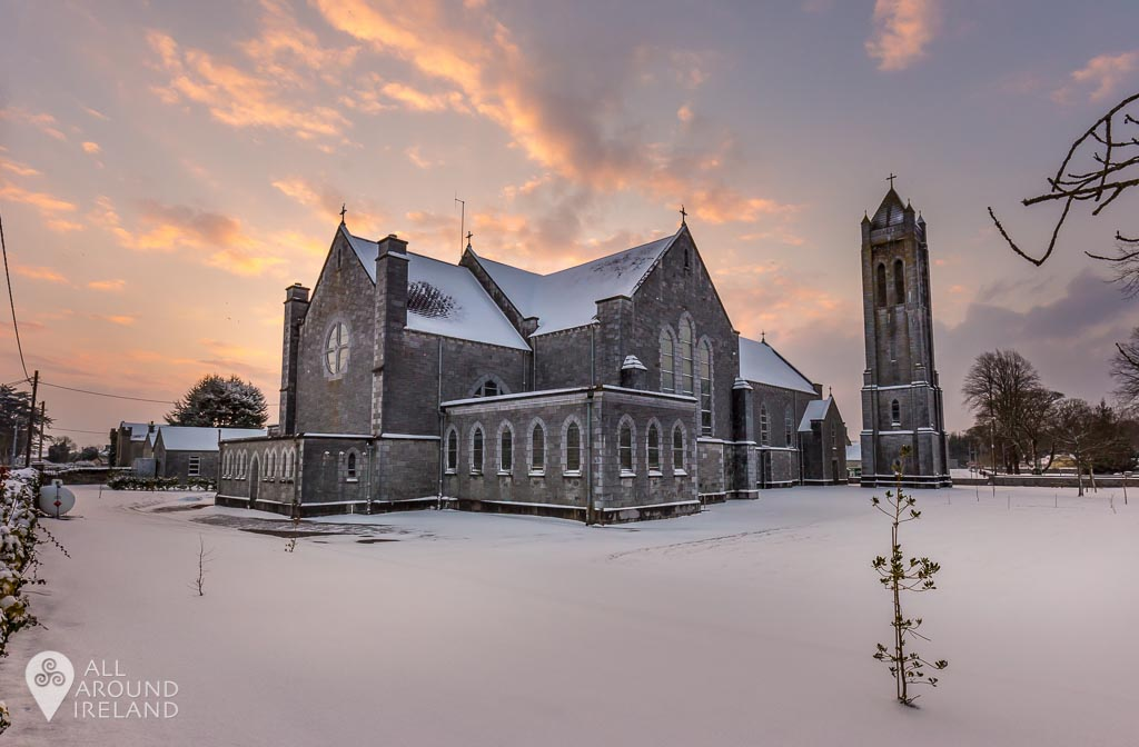 A colourful sunrise over St Bridgid's Church