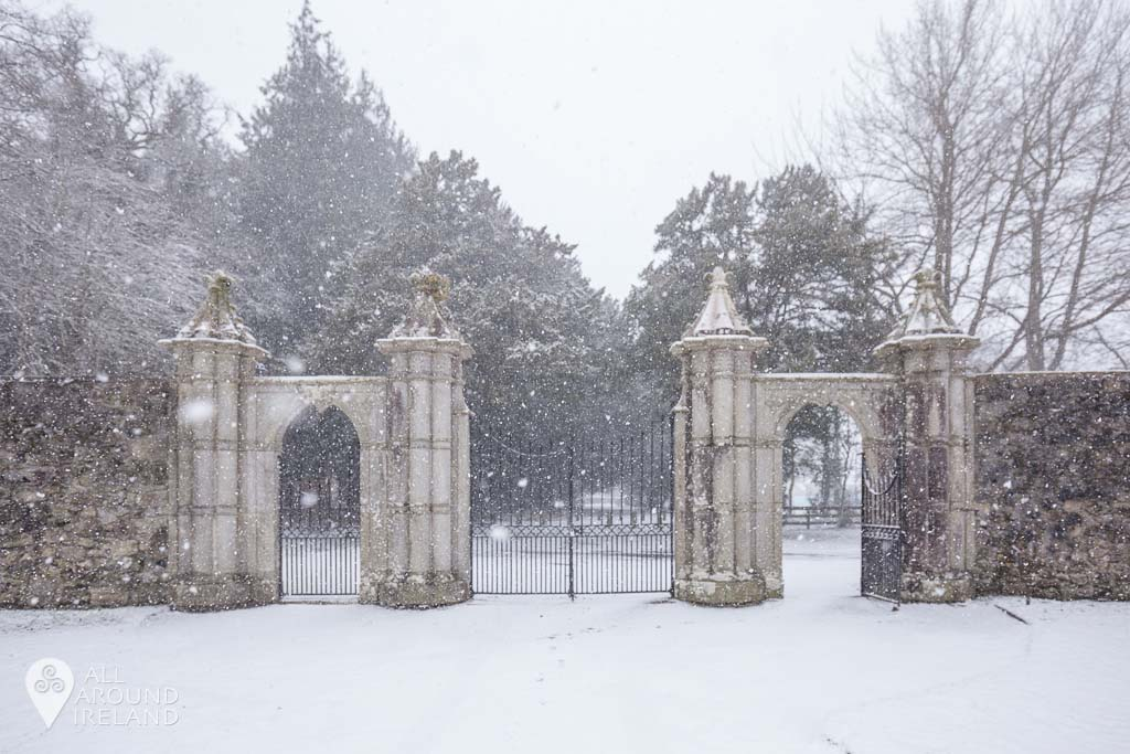 The entrance gates at Portumna Castle