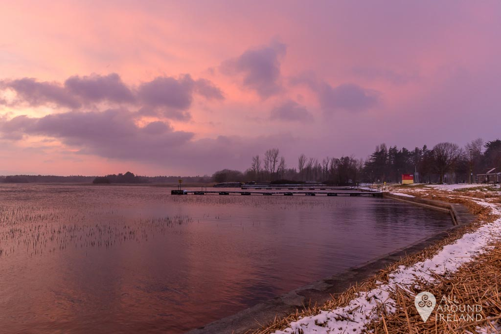 Pink sky at sunset at the swimming area in Portumna, Galway during Storm Emma.