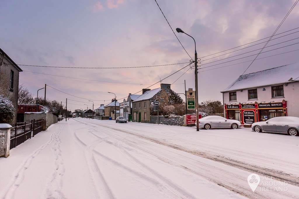 A layer of snow covers Clonfert Avenue
