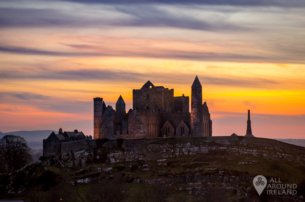 A stunning multi-coloured sunset at the Rock of Cashel