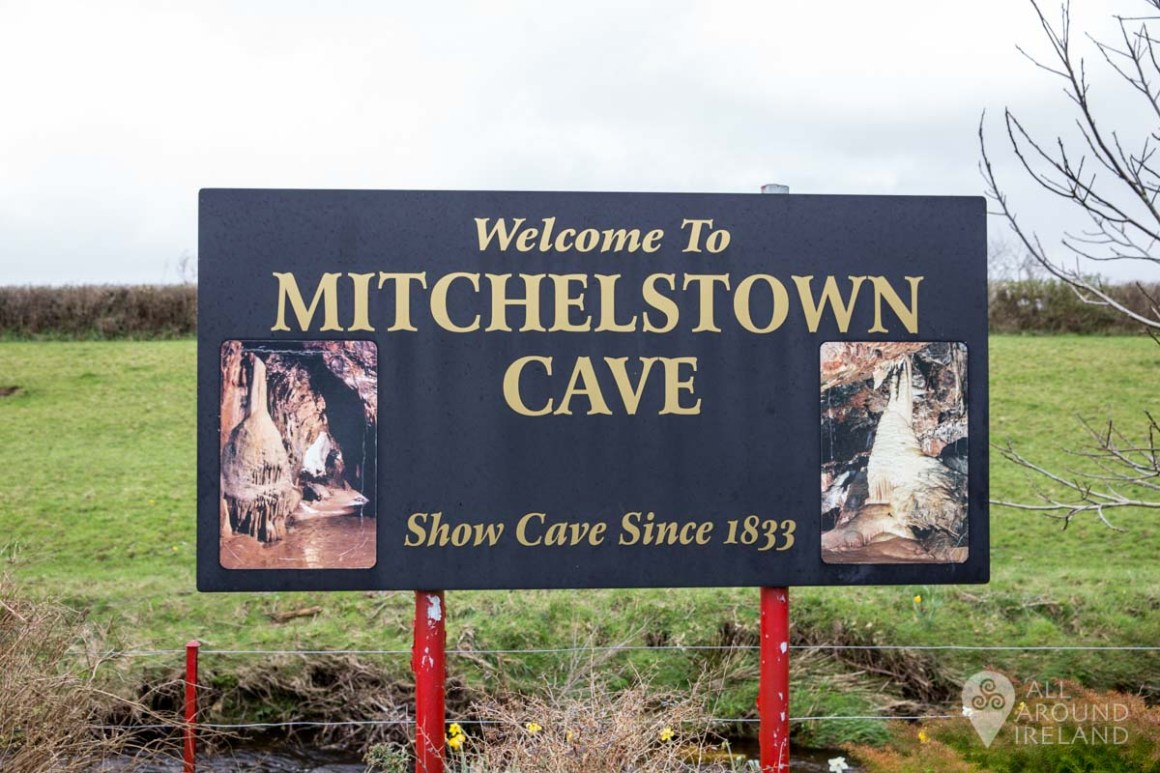 Welcome sign for Mitchelstown Cave