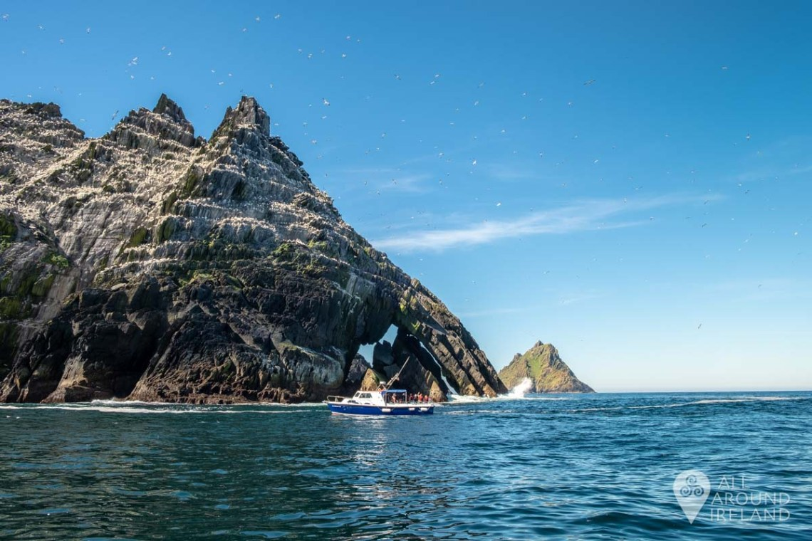 Skellig Michael in the distance, peeping out from behind Little Skellig.