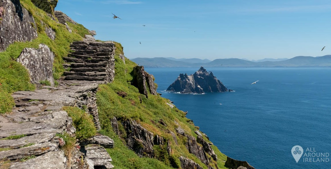 Stairway to the monastic site with Little Skellig in the distance.