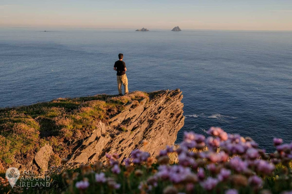 Gazing out at the Skellig Islands as the sun goes down.