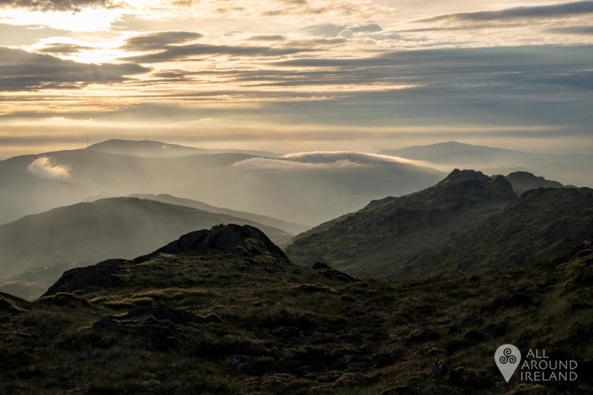 Hazy mountains layers as the sun sets over Slieve Foye