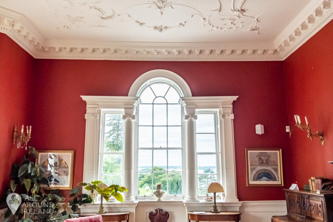 The beautiful stucco ceiling in the living room at Belvedere House.