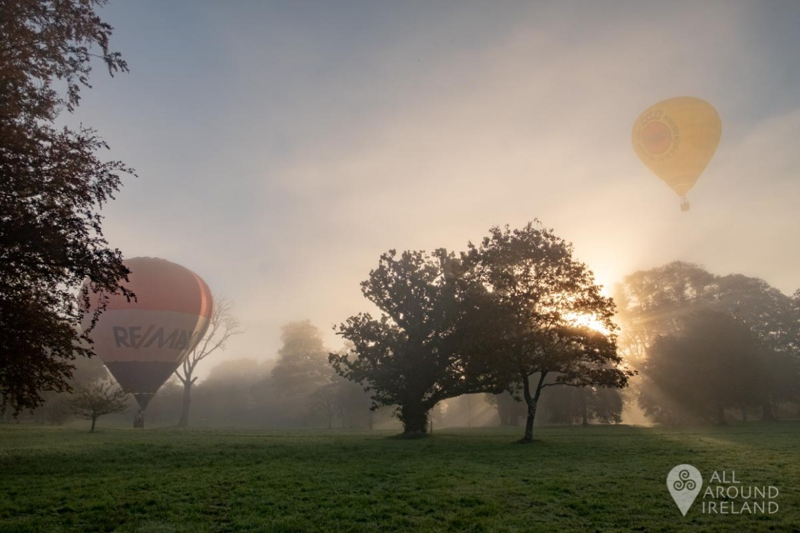 Balloons launching from Birr Castle in the early morning light and fog. Irish Hot Air Ballooning Championships 2018.