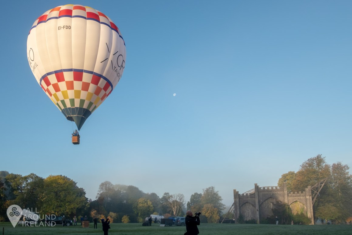 Hot air balloons launching from the grounds of Birr Castle. Irish Hot Air Ballooning Championships 2018.