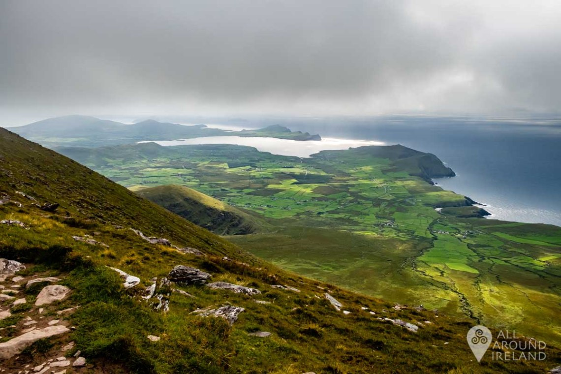 stunning view over the Dingle Peninsula towards the Blasket Islands.