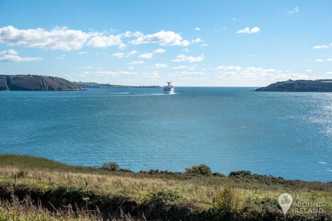 A cruise ship leaving the harbour. Viewed from Bastion 3 of the fort on Spike Island.