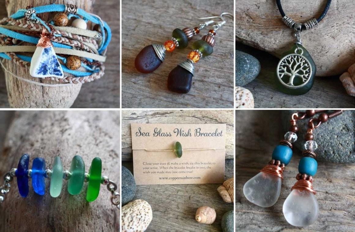 Copper Rainbow Sea Glass - jewellery