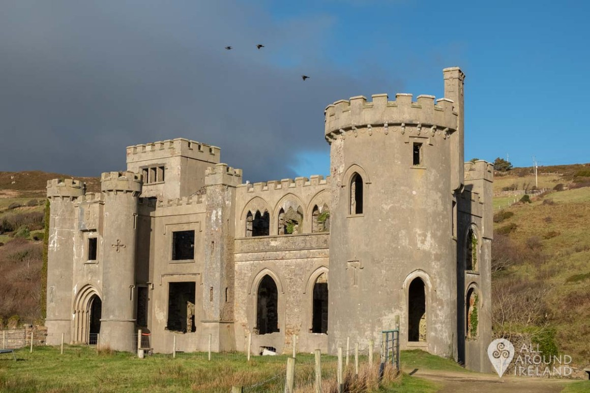 The front view of Clifden Castle as you approach