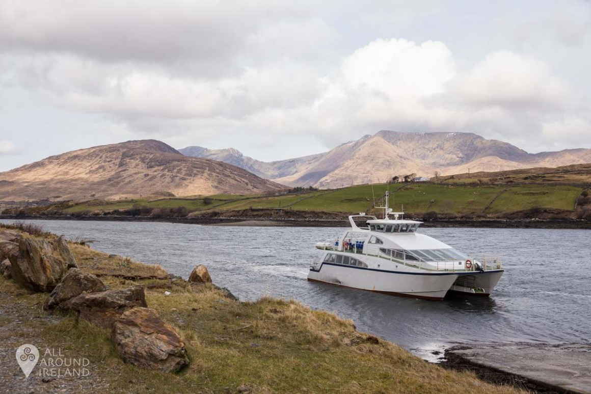 A cruise boat in Killary Fjord, Connemara