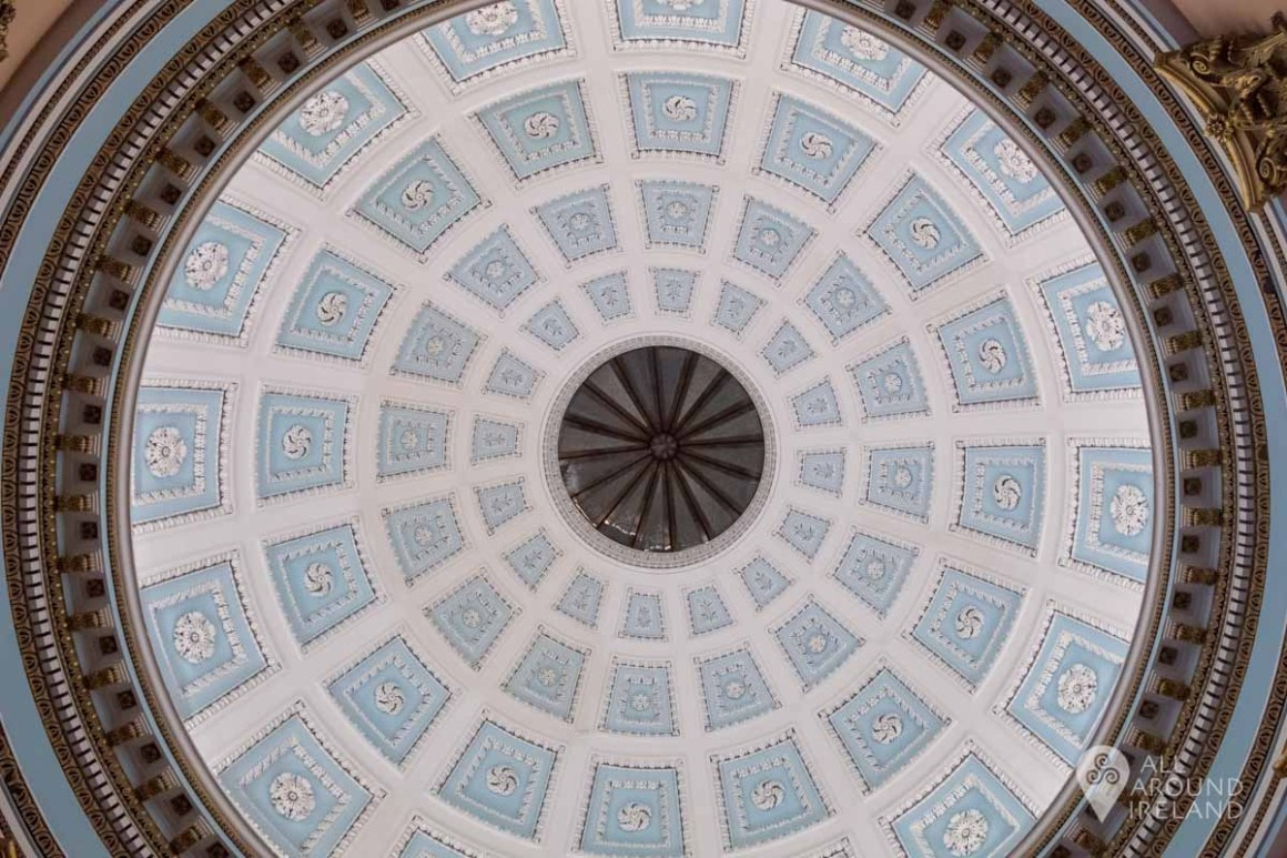 The ornate ceiling of the rotunda at Emo Court.