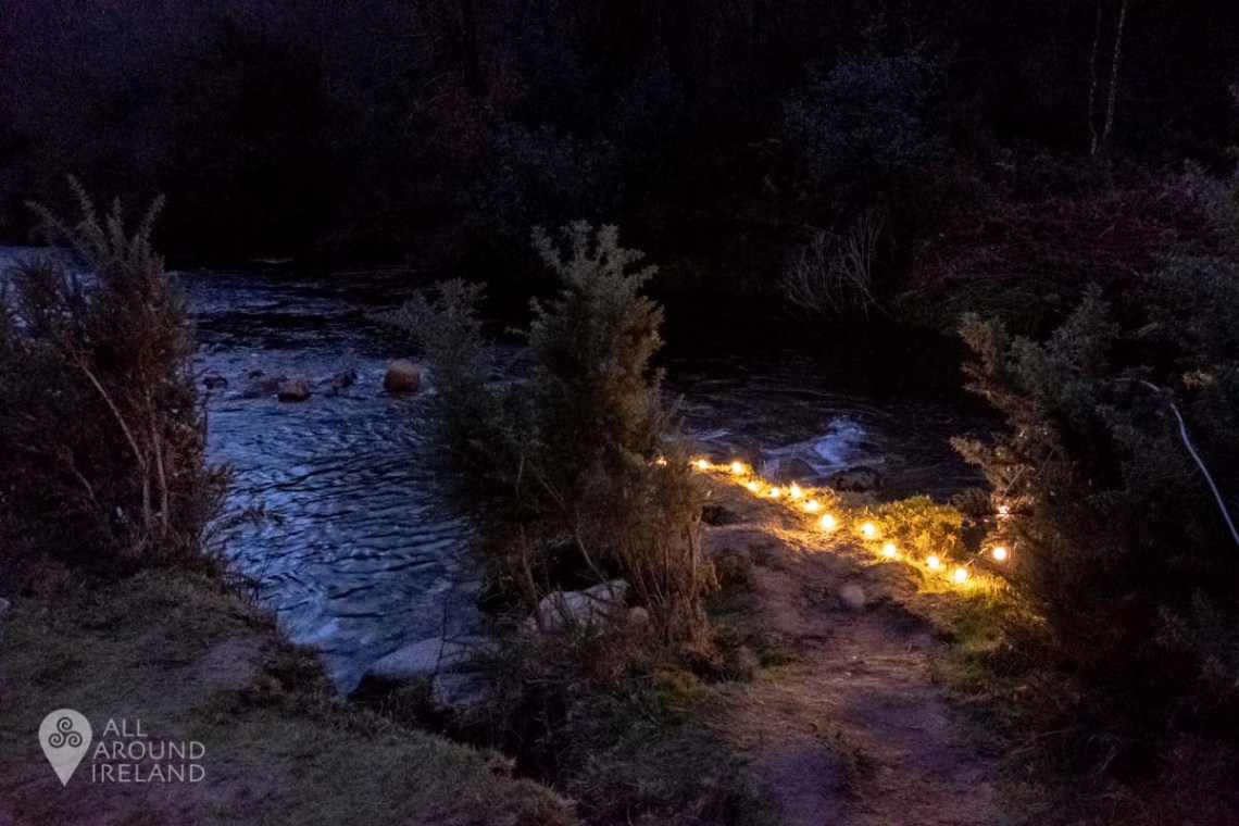 Lights guide the way to the plunge pool after dark