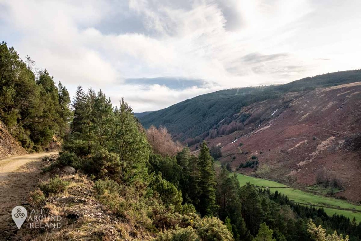 Looking across the Glenmalure Valley from the Miner's Path. You can just make out the Carrawaystick Waterfall and Zig Zags trail.