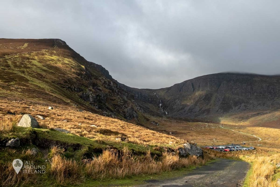 The spectacular view looking back at the carpark and trail to Mahon Falls from the top of the hill.