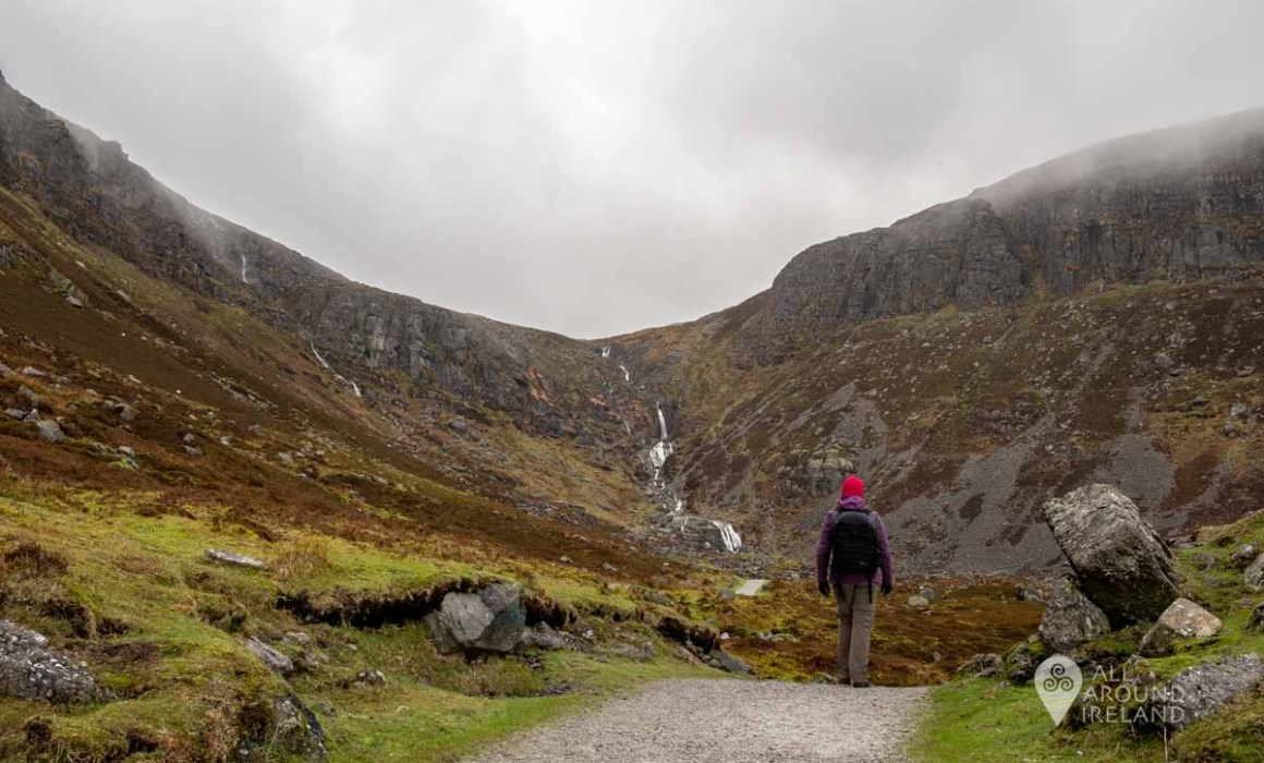 Walking along the trail towards the Mahon Falls. The cloudy sky makes for a very grey and moody landscape.