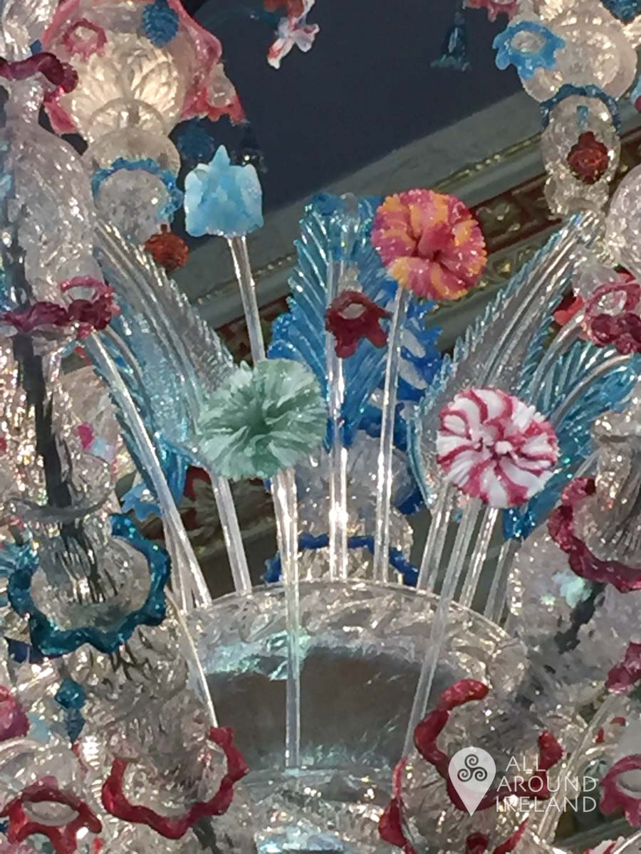 Close up of one of the murano glass chandeliers in the Long Gallery at Castletown House