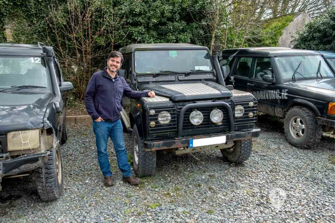 José looking very pleased with himself after his 4x4 off-road driving experience. He's posing beside the jeeps.