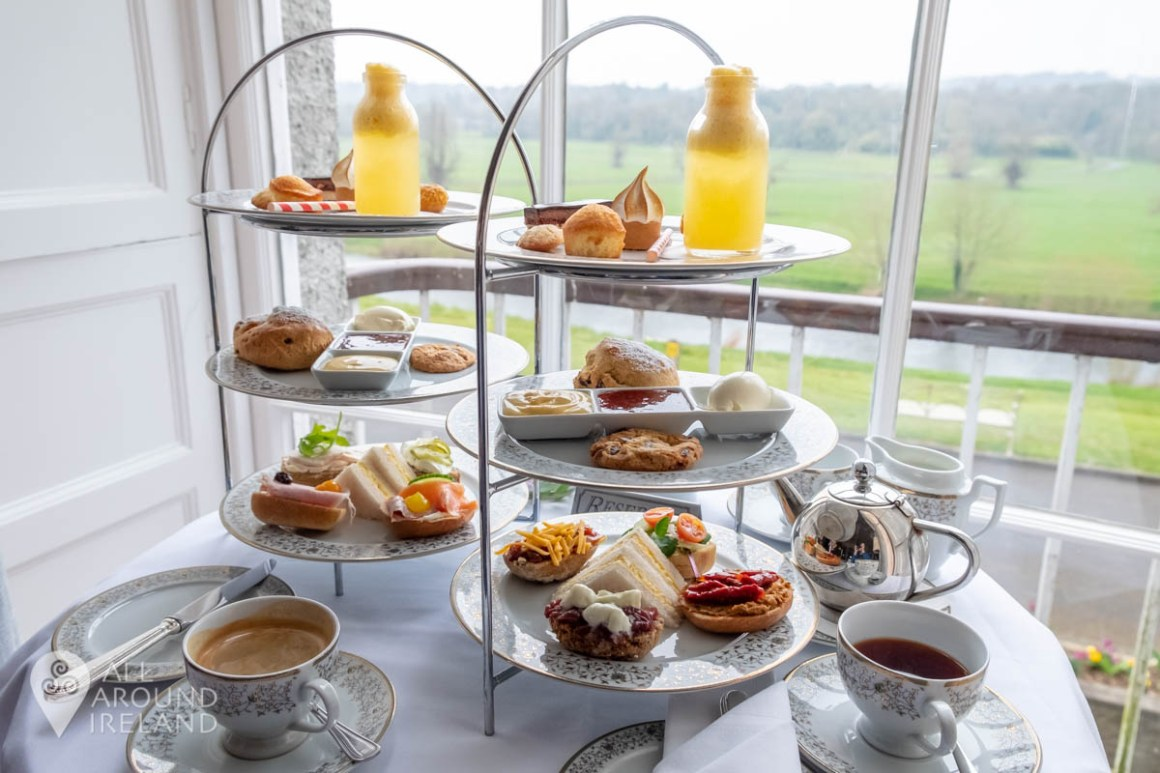 Afternoon Tea with views out over the Nore River from the Major's Bar at Mount Juliet Estate