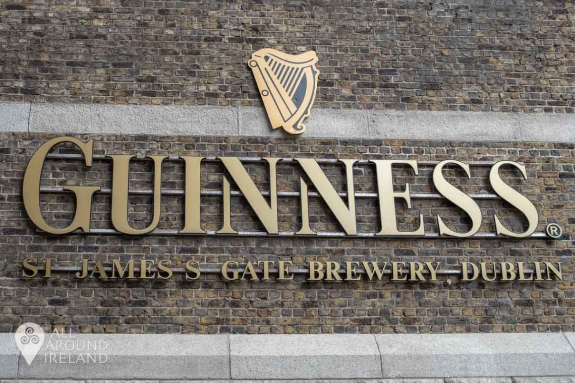 Signage for the Guinness Storehouse on the buildings outside